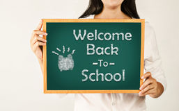 Welcome back to school on green board. Stock Photography