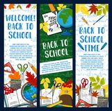 Back to School vector chalkboard banners. Welcome Back to School green chalkboard banners of stationery book, pencil or ruler and globe map or paint brush Stock Images