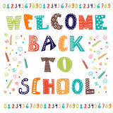 Welcome back to school. Greeting card. Back to school design Stock Photos