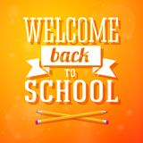 Welcome back to school greeting card with crossed. Pencils on bright positive background Royalty Free Stock Image