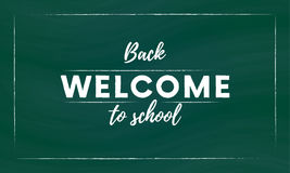 Welcome back to school hand brush lettering, white 3d letters on green chalkboard background. Vector. Royalty Free Stock Photos