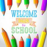 Welcome back to school hand-drawn greeting with. Color pencils Stock Photo