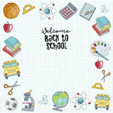 Welcome back to school hand drawn illustration. stock illustration