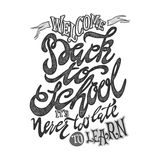 Welcome back to school hand lettering sketch background. Royalty Free Stock Photography