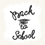 Welcome back to school hand lettering sketch background. Royalty Free Stock Photo