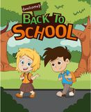 Welcome back to school.kid walking to school.vector and illustra Royalty Free Stock Photography