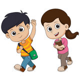 Welcome back to school.kid walking to school. Vector and illustration Stock Photo