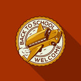 Welcome Back to school label with schoolbus Stock Images