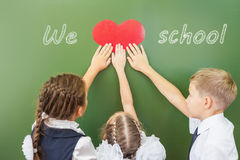 Welcome back to school with love from little kids Royalty Free Stock Image
