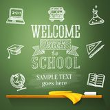 Welcome back to school message on chalkboard with. Welcome back to school message on the chalkboard with place for your text. Vector illustration Stock Photo