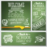 Welcome back to school messages on the chalkboard Royalty Free Stock Images