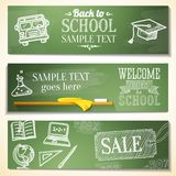 Welcome back to school messages on the chalkboard. School banners with Welcome back to school messages on the chalkboard with place for your text Stock Image