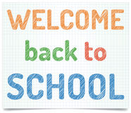 Welcome back to school. Pen style text on exercise book paper Royalty Free Stock Photography