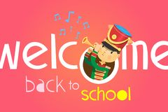 Welcome back to school poster. With a boy playing on trumpet in uniform of school band uniform. vector illustration