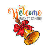 Welcome back to school poster design with bell and ribbon Stock Photos