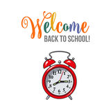 Welcome back to school poster design with red alarm clock Stock Image