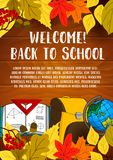 Back to School vector stationery poster. Welcome Back to School poster of lesson stationery, book and bag, pen or pencil and autumn maple or rowan leaf on Royalty Free Stock Photography