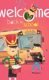 Welcome back to school poster with school bus and children greeting each other in the beginning of the year vector illustration