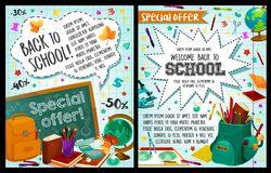 Back to School vector study stationery posters. Welcome Back to School posters of stationery study supplies for September autumn school season. Vector design of Stock Image
