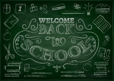 Welcome back to school sale background with apple, vector illustration. Royalty Free Stock Image