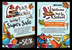 Back to School vector sale posters. Welcome Back to School sale posters of stationery and study supplies for autumn September school shopping discount store Royalty Free Stock Images
