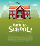 Welcome back to school! School building. Education. Wide copy space for text. Vector illustration of school building for back to school poster or banner Stock Photography