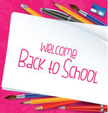 Welcome back to school with school items Royalty Free Stock Photos