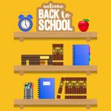 Welcome back to school shelves wooden with clock, apple, book, notebook, pencil case. With yellow background. Vector illustration stock illustration