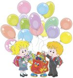 Welcome back to school. Smiling schoolchildren and a funny Schoolbag with colorful balloons waving their hands in welcoming, vector illustration in a cartoon Royalty Free Stock Photos