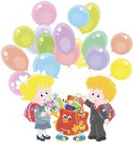 Welcome back to school. Smiling schoolchildren and a funny Schoolbag with colorful balloons waving their hands in welcoming, vector illustration in a cartoon Stock Photo