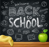 Welcome back to school, 1st September, Knowledge Day. Background on black chalkboard. With school elements. Cartoon vector illustration Royalty Free Stock Image