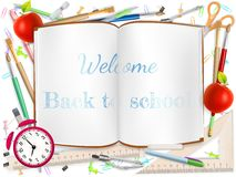 Welcome Back to school supplies. EPS 10. Welcome Back to school template with schools supplies. EPS 10 vector file included Stock Photos