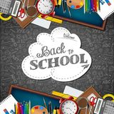 Welcome back to school with school supplies. Illustration of Welcome back to school with school supplies royalty free illustration