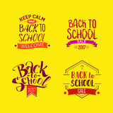 Welcome back to school tags. Welcome back to school labels. School tags set on bright yellow background. Back to school sale logo collection. Vector illustration Stock Illustration