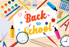 Welcome Back to school template with office supplies on desktop Stock Images