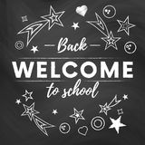 Welcome back to school text banner in blackboard background with white stars and signs.Vector. Illustration Stock Image