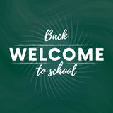 Welcome back to school text banner in green blackboard background with star. Vector. Welcome back to school text banner in green blackboard background with star Royalty Free Stock Photography