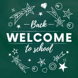 Welcome back to school text banner in green blackboard background with white stars and signs.Vector illustration.Vector. Welcome back to school text banner in Stock Photos