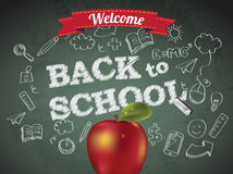 Welcome back to school with text on chalkboard Royalty Free Stock Image