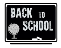 Welcome back to school text drawing in blackboard with school it. Ems and element banner Royalty Free Illustration