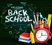 Welcome Back to School Text with Hand Drawn Doodle and Various Kind of School Items stock illustration
