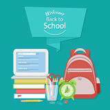 Welcome Back To School Text On The Banner. Royalty Free Stock Image