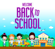 Welcome Back to School Text with School Building and School Bus Royalty Free Stock Images
