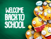 Welcome back to school text and smileys with facial expressions. Or emoticons students in chalkboard background for education. Vector illustration stock illustration