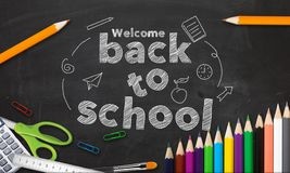 Welcome Back to School Title Written in a Black Board Stock Images