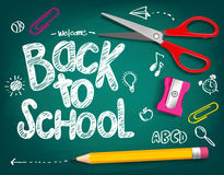 Welcome Back to School Title Written in a Chalk Board. With Realistic 3D Items Like Pencil and Scissor. Vector Illustration Doodle royalty free illustration