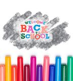 Welcome back to school. Top view of lettering welcome back to school and colorful markers isolated on white stock photography