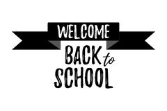 Welcome Back to School Typographic - Vintage Style Back to Schoo. L. Vector illustration Stock Photos