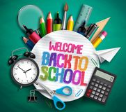 Welcome back to school vector banner with school supplies, education elements and colorful text. In textured white paper in green background. Vector Stock Images