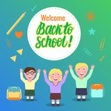 Welcome Back to school Vector Card. Cartoon girl and boys. Welcome Back to school card. Cartoon girl and boys. Vector illustration Royalty Free Stock Image